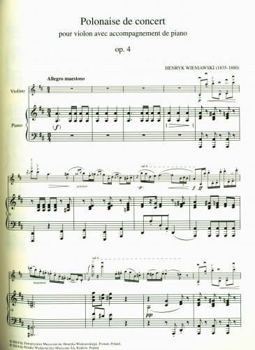 Henryk Wieniawski Polonaise De Concert En Ré Majeur Op 4