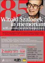 Concert - Witold Szalonek in Memoriam on the 85th Anniversary of the Composer's Birth